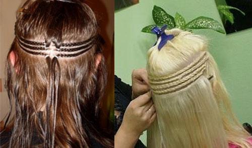Наращивания волос на косичку